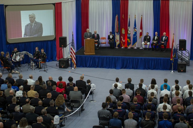 Missouri Governor Michael Parson offers words of encouragement to students being honored for choosing to serve in the military following graduation at the first Community Salute to Service event, held at Waynesville High School in 2019. This year's event is scheduled for 6:30 p.m. April 23 at the same location.
