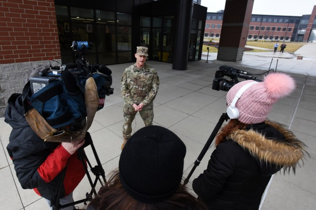 Col. CJ King, commander of Fort Knox Garrison command, answers reporters' questions Feb. 12, 2020, about the new V Corps headquarters moving to the central Kentucky Army post sometime in October 2020. The U.S. Army made the announcement about the unit activation the day prior.