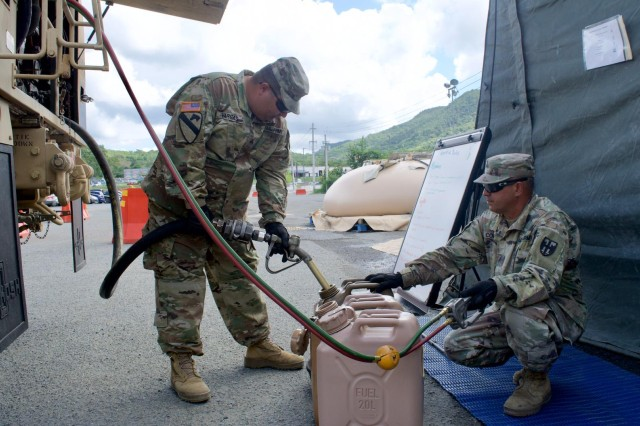 PRARNG Citizen-Soldiers provide fuel to a water purification site in the aftermath of the earthquakes that shook the southwestern part of the Island on 7 January.  So far, Joint Task Force - Puerto Rico has distributed 1,679,328 bottles of water, distributed 190,000 gallons of drinking water throughout the area, has prepared and served 60,756 hot meals, distributed 100,080 military meals (MREs), and the medical personnel have attended more than 5,400 patients.