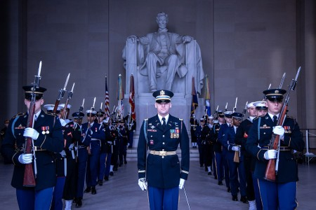 Service members assigned to the Joint Force Headquarters - National Capital Region and the U.S. Army Military District of Washington conduct a Presidential Armed Forces Full Honor wreath-laying ceremony to commemorate Abraham Lincoln's 211th birthday...
