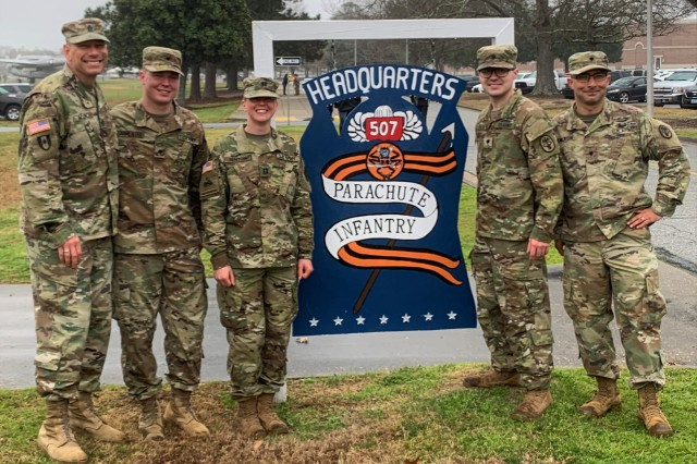 From Left: Eisenhower Army Medical Center, Fort Gordon Georgia, Soldiers Command Sgt. Major William Allen, Spc. Joseph Parmenter, Capt. Gayle Benton, Spc. Andrew Meyer and Spc. Donald Hamilton are all smiles following their graduation from the Basic Airborne Course Jan. 31, Fort Benning Georgia.  (U.S. Army photo)