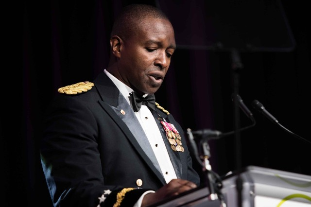 Lt. Gen. Bruce Crawford, the Army's chief information officer and G-6, addresses the crowd after becoming the second active-duty Soldier to win the Black Engineer of the Year award.