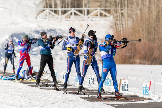 Lt. Col. Connie Opsal (right), with the Oregon National Guard Biathlon Team, engages her targets during the 2020 National Guard Biathlon Western Regionals in Utah, Jan. 11, 2020.