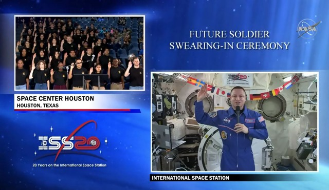 Army Col. Andrew Morgan, an Army astronaut, swore in nearly 1,000 recruits from space Wednesday, Feb. 26, 2020, as part of the first nationwide Oath of Enlistment ceremony from the International Space Station.