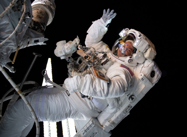 Col. Andrew Morgan, a NASA astronaut, is pictured working outside the International Space Station during a six-hour and 32-minute spacewalk to install the orbiting lab's second commercial crew vehicle docking port Aug. 21, 2019. Morgan administered the Oath of Enlistment to future Soldiers during the first-ever nationwide ceremony of its kind from the International Space Station Feb. 26, 2020.