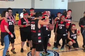 9th Mission Support Command volunteers at Special Olympics Basketball Tournament