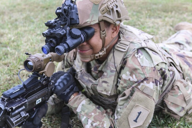 "Soldiers from the 2nd Armored Brigade Combat Team, 1st Infantry Division, are the first to receive the Enhanced Night Vision Goggle – Binocular and the Family of Weapon Sights – Individual. The ""Dagger"" brigade received and fielded the new equipment Sept. 23 to 26. The ENVG-B and FWS-I give Soldiers the ability to see through fog, dust, and smoke. The devices increase the warfighters lethality, mobility, and situational awareness through innovative and state of the art capabilities."