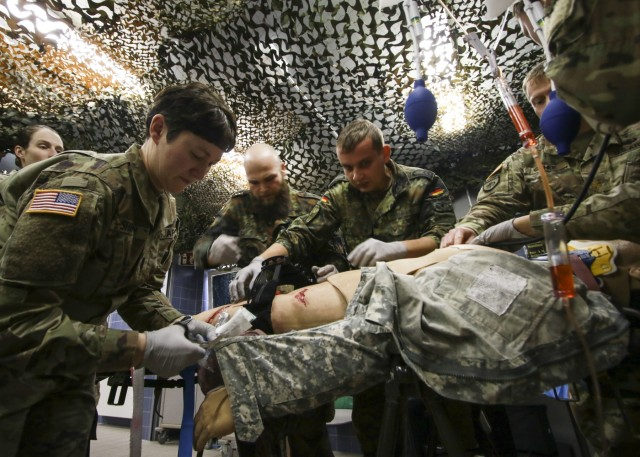 U.S. and German armed forces medical personnel exercise critical skills
