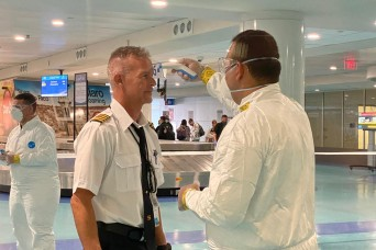 Puerto Rico Guard screening airport passengers for COVID-19