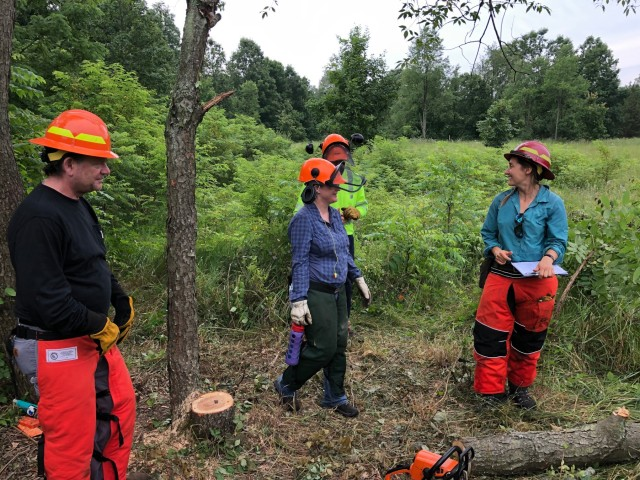 Jennifer Mueller of Forest Stewards Guild leads a team of wildland fire saw trainees through field exercises at FCTC. FCTC regularly hosts fire trainings that accomplishes several things: building a robust team of well-trained wildland firefighters, keeping fire safe, and building community that keeps our fire program relevant and connected.