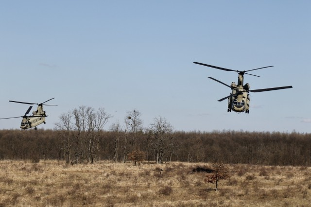 Helicopters from 2-3 General Support Battalion, 3rd Combat Aviation Brigade, 3rd Infantry Division, take-off from the landing zone during Hawk Strike in Hungary on March 5. Hawk Strike allows units to conduct movements in a realistic, high-intensity environment to ensure readiness and the ability to fully integrate with any NATO partner and ally, such as the Hungarian Forces.