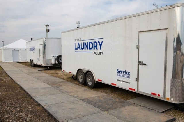 Among the basic services provided to Soldiers waiting out their mandatory 14-day quarantines are laundry facilities. (U.S. Army photo by Maj. Deirdra Johnson)