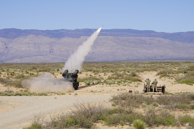 An Avenger Air Defense System from 1st Battalion, 204th Air Defense Artillery Regiment, Mississippi National Guard fires a Stinger air-to-ground missile during a Live Fire Exercise at Oro Grande Range Complex March 24, 2020.