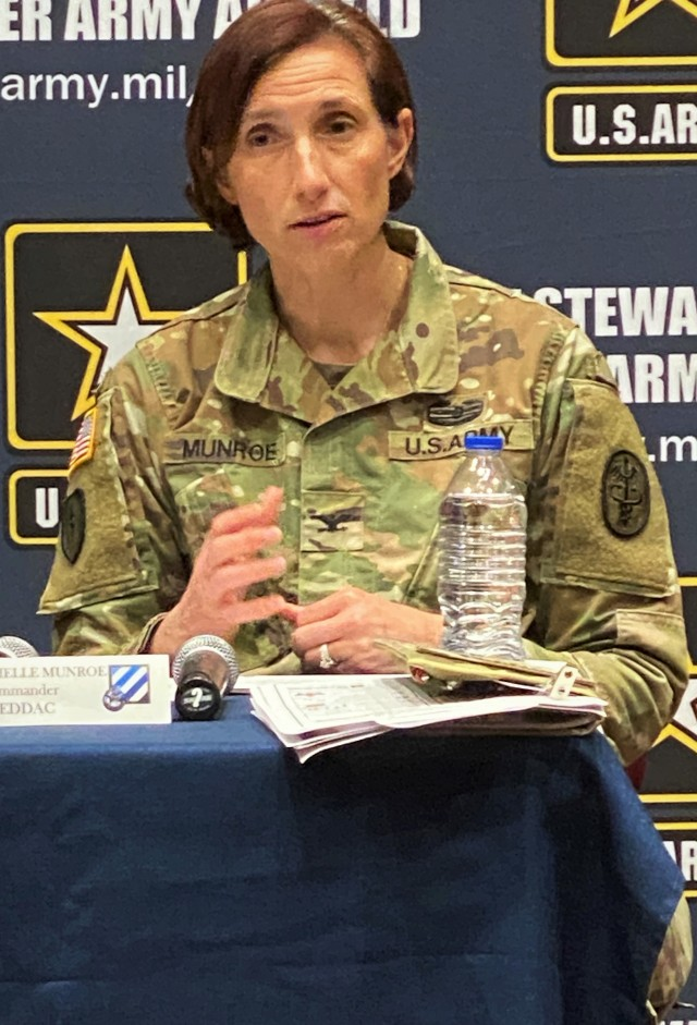Col. Michelle Munroe, the WINN Army Community Hospital commander addresses how to prevent infecting yourself and others from the Coronavirus during a townhall meeting, March 19th at Fort Stewart, Georgia. FSGA and HAAF leaders across all sections provided the most up-to-date information available about the impact COVID-19 has had on services such as schools, commissary, post exchange, medical, transportation and Soldier movement. (U.S. Army photo by Sgt. Arjenis Nunez/50th Public Affairs Detachment)
