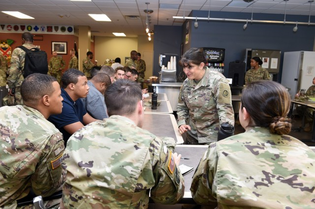 Brig. Gen. Kris A. Belanger, Commanding General, 85th U.S. Army Reserve Support Command talks with Reserve Officers' Training Corps cadets during a speed mentoring session at the Fort Jackson ROTC Leader Professional Development Symposium, February 7, 2020, at Fort Jackson, South Carolina. Approximately 300 ROTC cadets from North Carolina and South Carolina attended the one-day event to learn from high ranking Army leaders about a variety of topics including financial management, best practices and how to be a successful Army officer.  (U.S. Army Reserve photo by Sgt. David Lietz)