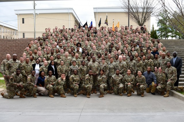 Reserve Officers' Training Corps cadets pause for a group photo at the conclusion of the Fort Jackson ROTC Leader Professional Development Symposium, February 7, 2020, at Fort Jackson, South Carolina. The one-day event featured panel discussions with senior Army leaders and speed mentoring sessions designed to allow ROTC cadets to ask direct questions to the Army leaders.  (U.S. Army Reserve photo by Sgt. David Lietz)