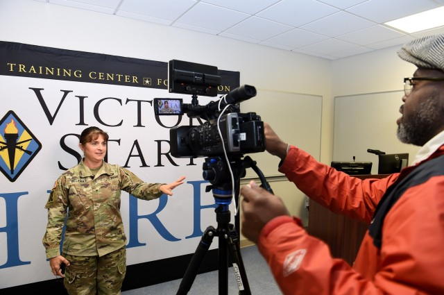 Brig. Gen. Kris A. Belanger, Commanding General, 85th U.S. Army Reserve Support Command conducts an interview with WLTX-TV Channel 19 in Columbia, South Carolina. Belanger was one of 11 general officers taking part in the Fort Jackson Reserve Officers' Training Corps Leader Professional Development Symposium at Fort Jackson, South Carolina, February 7, 2020. Belanger is a graduate of the U.S. Military Academy at West point, New York.  (U.S. Army Reserve photo by Sgt. David Lietz)