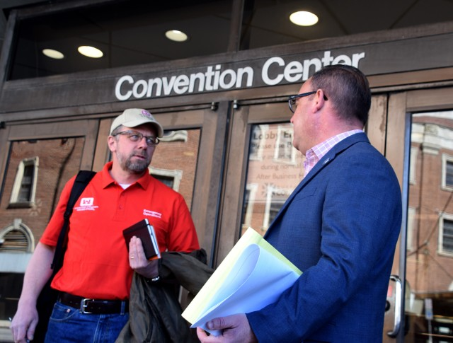 Team members of the U.S. Army Corps of Engineers, Buffalo District, assess the Buffalo Convention Center as a potential alternate care site March 22, 2020. USACE has identified over 110 sites across the country it could retrofit to help local hospitals deal with patient overflow amid the COVID-19 outbreak.