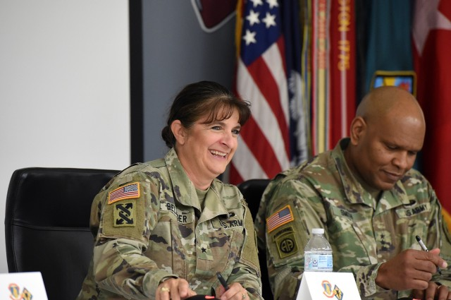 Brig. Gen. Kris A. Belanger, Commanding General, 85th U.S. Army Reserve Support Command responds to a question, asked by an Reserve Officers' Training Corps cadet, during the Fort Jackson ROTC Leader Professional Development Symposium, February 7, 2020, at Fort Jackson, South Carolina. Belanger participated in a panel discussion which featured an open discussion with other general officers. Cadets could various questions, during the one day event, devoted to mentorship and leadership development of ROTC cadets who will lead the Army into the future.  (U.S. Army Reserve photo by Sgt. David Lietz)