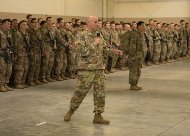 Maj. Gen. James Mingus, the 82nd Airborne Division commanding general, speaks to Paratroopers assigned to 1st Brigade Combat Team, 82nd Airborne Division and their families during a redeployment ceremony at Fort Bragg, N.C., February 20, 2020. The ceremony was held to welcome home Paratroopers who deployed in support of the New Year's Eve Immediate Response Force activation to the Central Command theater of operations.