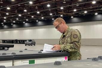 Michigan National Guard helps set up FEMA medical station
