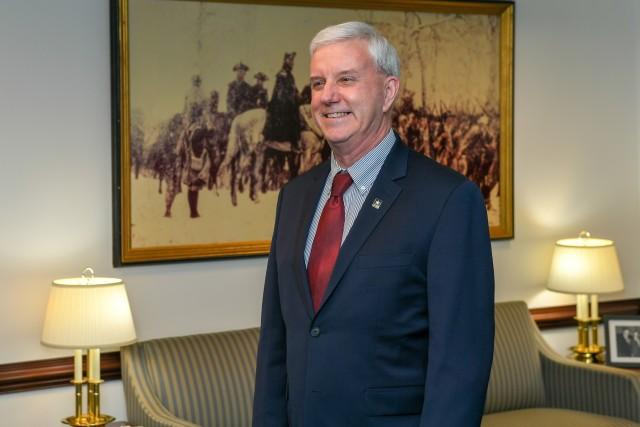 James E. McPherson is sworn in as the 34th undersecretary of the Army in Arlington, Va., Mar. 26, 2020.