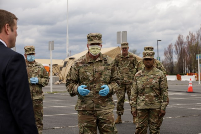 Secretary of the Army Ryan D. McCarthy visits the state of Maryland's first COVID-19 screening site with Maryland 4th Congressional District Representative Anthony G. Brown, Army Guard Director Lt. Gen. Daniel Hokanson, and Maryland Adjutant General Maj. Gen. Timothy Gowen.  The site was established by the Maryland National Guard under the management of the Prince George's County Health Department.  More than 2,000 Maryland National Guard members are activated to support Maryland's response to COVID-19. The MDNG is working in close coordination with many agencies to support civil authorities. MDNG capabilities include medical augmentation, transportation support, food distribution, and more.