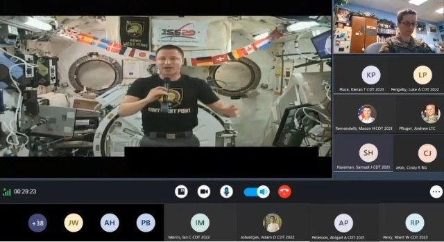 Cadets in GeNe and the physics and nuclear engineering department were able to take part in a downlink video stream with NASA astronaut Col. Drew Morgan, Class of 1998, who is currently at the International Space Station. (Photo couresty of Col. Mindy Kimball)