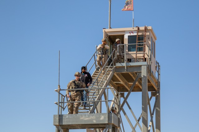 U.S. Soldiers inspect a guard tower along the perimeter of Al Asad Airbase in Anbar Province, Iraq, Feb. 14, 2020. The 25th ID regularly conducts presence patrols around the perimeter of Al Asad airbase to support Iraqi troops and strengthen the security partnership between the two nations. (U.S. Army photo by Sgt. Sean Harding)