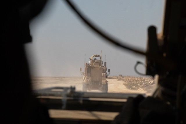 Soldiers with 1st Battalion, 5th Infantry Regiment, 1st Stryker Brigade Combat Team, 25th Infantry Division, head out on patrol around the perimeter of Al Asad Airbase in western Iraq, Feb. 14, 2020. Al Asad is the largest military airbase in Iraq and the second-largest in the U.S. Central Command area of responsibility. (U.S. Army photo by Sgt. Sean Harding)