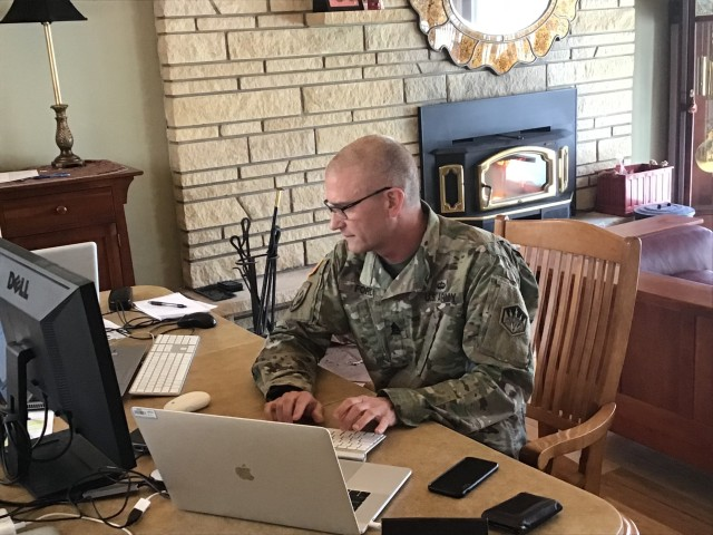 Command Sgt. Maj. Kyle Ford, 336th Expeditionary Military Intelligence Brigade command sergeant major, answers live questions during the brigade's virtual battle assembly from Black Forest, CO, March 21, 2020. (US Army photo by Command Sgt. Maj. Kyle Ford)