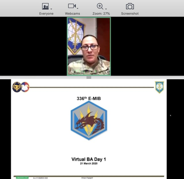 Brig. Gen. Terri Borras, commander of the Military Intelligence Readiness Command, provides opening remarks during the 336th Expeditionary Military Intelligence Brigade's virtual battle assembly from Fort Belvoir, VA, March 21, 2020 (US Army photo by Maj. Daniel Denn)