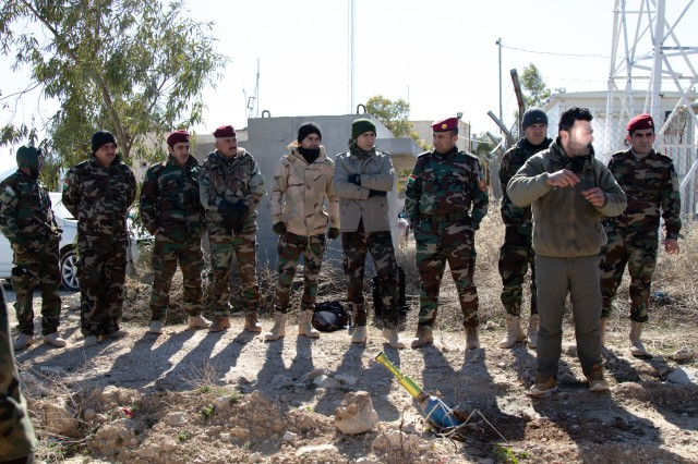 Peshmerga soldiers receive unexploded ordnance training in northern Iraq, Feb. 10, 2020. The Peshmerga's 3rd Battalion, 14th Regional Guard Brigade, has partnered with the U.S. Army's 3rd Security Forces Assistance Brigade (SFAB) to fulfill the requirements of the 3rd SFAB's train, advise, assist & enable mission in Iraq. (U.S. Army photo by Sgt. Sean Harding)