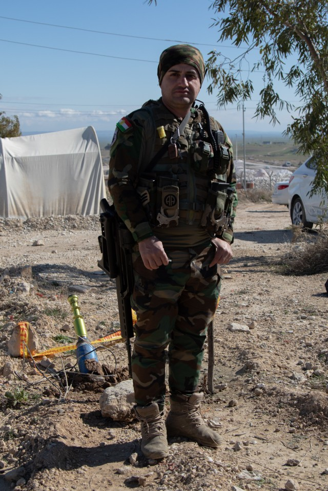 A Peshmerga soldier stands guard in northern Iraq, Feb. 10, 2020. The U.S. Army's 3rd Security Forces Assistance Brigade (SFAB) has partnered with the Peshmerga's 3rd Battalion, 14th Regional Guard Brigade to increase the capabilities of the Peshmerga. (U.S. Army photo by Sgt. Sean Harding)