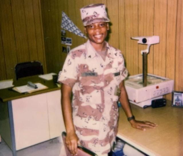 Cpl. Yolondria Dixon at her work area in Somalia, Nov. 11, 1993.
