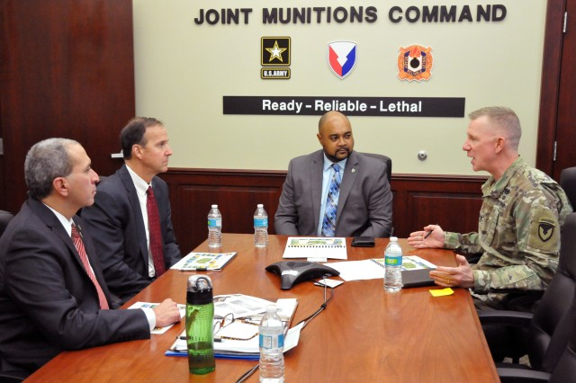 Col. Dave Brown, JMC Chief of Staff, leads a discussion with Norbert Herrera, Deputy Chief of Staff, G1, JMC; Michael Reheuser, Assistant G-1 for Civilian Personnel, Headquarters, Department of Army; and Max Wyche, Deputy Chief of Staff, G-1, Army Materiel Command, during a recent visit to the Rock Island Arsenal. The group discussed JMC's Army People Strategy and current lines of effort.