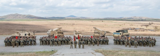 2nd Battalion, 18th Field Artillery Regiment, 75th Field Artillery Brigade, Fort Sill, OK, stand postured and ready on April 17, 2019, to deploy to the Korean Peninsula in support of on-going missions.