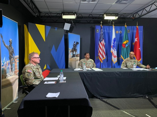 FORT BENNING, Ga. – Key leaders at Fort Benning hold their fourth online COVID-19 town hall meeting April 7, live-streamed on Facebook. From right are, Maj. Gen. Gary M. Brito, commanding general, U.S. Army Maneuver Center of Excellence, Col. Dawson A. Plummer, commander, 194th Armored Brigade, and Col. Dave Voorhies, commander, 198th Infantry Brigade. The two brigades train Soldiers for, respectively, the Armor and Infantry branches. Brito told the audience that although there is currently a 14-day halt to shipping new recruits to Army training centers like Fort Benning, those already here will continue to train. Fort Benning live-streamed its first COVID-19 town hall March 17.