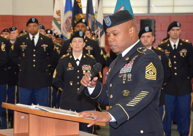 Command Sgt. Maj. Jerome Smalls speaks at the November 2017 ceremony in MacLaughlin Fitness Center here where he was welcomed as the Logistics Noncommissioned Officer Academy commandant. (File Photo)