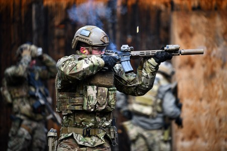 A U.S. Special Operations Forces Soldier assigned to 10th Special Forces Group (Airborne) engages his target during a close range weapons training exercise held at a shooting range near Stuttgart, Germany, Jan. 28, 2020.