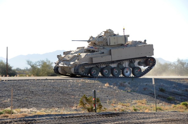 Since last May, U.S. Army Yuma Proving Ground (YPG) has been testing Advanced Running Gear (ARG) for potential use on the future NGCV Optionally Manned Fighting Vehicle. The ARG system is using an existing Bradley Fighting Vehicle as a surrogate test platform.   A robust suspension system is vital for a vehicle that tips the scales at more than 40 tons, and YPG has unparalleled test expertise and hundreds of miles of road courses of various degrees of ruggedness that closely simulates what a Soldier might experience in theater. The novel track and suspension system has already yielded vital insights in evaluations done here.