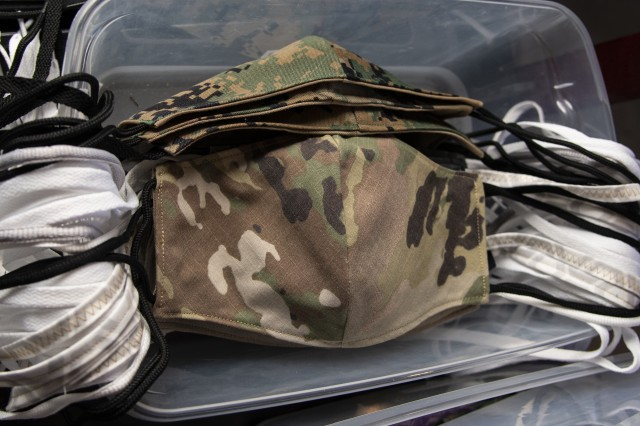 A stack of Army and Marine masks the Gallaghers' made to be donated to service members.