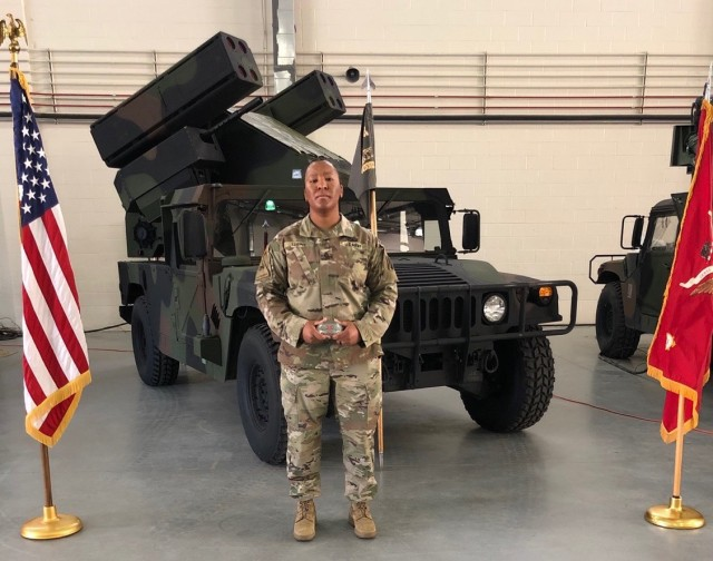 Staff Sgt. Tiana Trent with Charlie Battery, 5th Battalion, 4th Air Defense Artillery Regiment, 10th Army Air and Missile Defense Command graduates from Army Avenger Master Gunners Course at Ft. Sill, Ok, April 16, 2020. Trent is the first African-American female to complete the Avenger Master Gunner course in the US Army. (Photo by Staff Sgt.Keith Murphy, US Army)