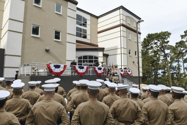A memorialization ceremony for Marine Sgt. Lucas T. Pyeatt for the new Marine Corps barracks on the Presidio of Monterey.