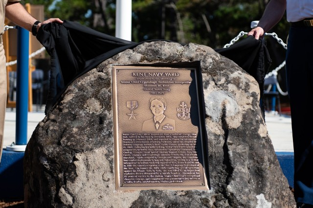 The Kent Navy Memorial plaque unveiling during a memorializtion in her honor on the Presidio of Monterey.