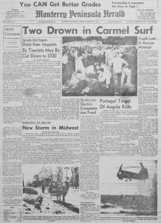 A historic copy of the Monterey Peninsula Herald with a front page article featuring Pfc. Robert E. Lewis who died tragically while trying to save a swimmer in distress off the coast of Carmel, California.