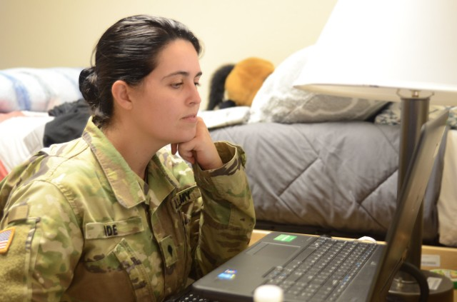 Spc. Ariel Ide, a human resources specialist assigned to Signal Intelligence Sustainment Company, Headquarters and Headquarters Battalion, 3rd Infantry Division, works on an assignment for the Basic Leader Course on Fort Stewart, Georgia, April 23, 2020. The Fort Stewart Noncommissioned Officer Academy recently transitioned BLC from a resident course to a virtual course due to the COVID-19 pandemic. (U.S. Army photo by Sgt. Zoe Garbarino)