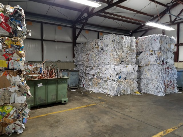 A view of RMTC's paper and copper recyclables storage area.  RMTC recently purchased an industrial wire stripper to facilitate the processing of recyclable wires.  In 2018, ARARNG recycled over 730 tons of recyclable paper, cardboard, metal, e-waste and other recyclable goods.