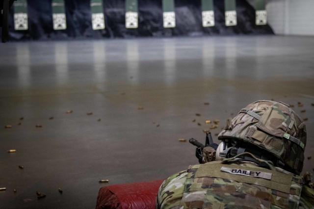 Soldiers of the 10th Mountain Division (LI) will slowly see training levels increase and community members will have more access to recreational services, as Fort Drum officials announced plans to begin a phased return of operations starting May 4. Soldiers were using the indoor ranges during the annual D-Series competition in February before the Coronavirus (COVID-19) pandemic effected military training on post. (U.S. Army photo by Pvt. Josue Patricio)