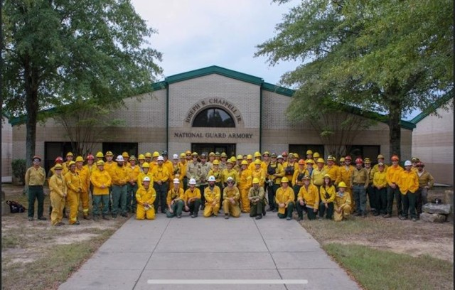 The 2019 Prescribed Fire Course graduating class.  In the early fall, ARARNG hostsed an annual prescribed fire school at RMTC. The training class is a multi-agency effort which includes AR ARNG, Arkansas Forest Service, Arkansas Game and Fish, Natural Resource Commission, U.S. Forest Service, U.S. Fish and Wildlife, Arkansas Department of Heritage and the Nature Conservancy.